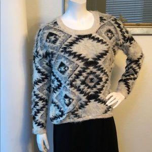 Dex Aztec Black/White Fluffy Yarn Sweater Size M